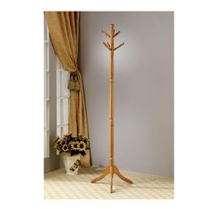 Traditional Golden Finished Classic Line Curved Oak Coat Rack Tree