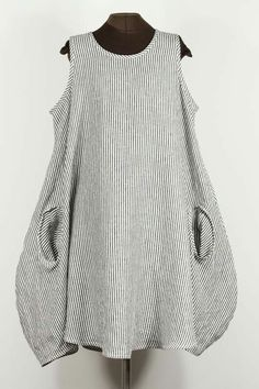STRIPES black + white linen dress with 2 pockets