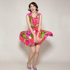 1960s Pink Floral Drop Waist Dress fromAlex Sandras on Etsy