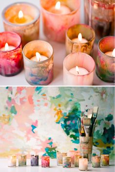 Painted Glass Votives / DIY we ❤ this! moncheribridals.com #weddingcandles #weddingvotives #DIYweddingvotives