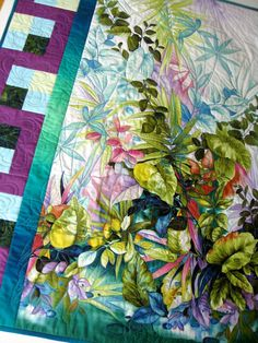 Floral Art Quilt Quilted Flowers and Foliage Wall by SallyManke