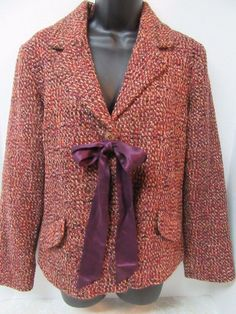 J. Jill Jacket Women's Sz 6 Brown Orange Black Tweed Blazer w/ Ribbon New Wool  #JJill #BasicJacket