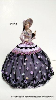 Porcelain Half Doll Pincushion,Dresser Doll,  Boudoir Doll,signed & dated-One-of-a-kind Art Doll