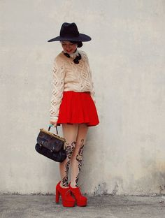 red black & beige x