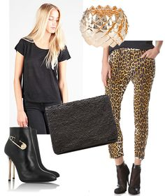 Party outfit combining black with leopard print