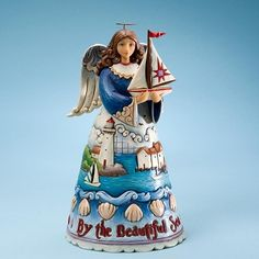 ✿Angel Figurine✿ The Beautiful Sea-Coastal Angel With Sailboat Figurine