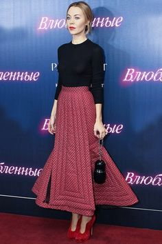 Ulyana wearing Ulyana Sergeenko Couture skirt at Belle du Seigneur premiere in Moscow