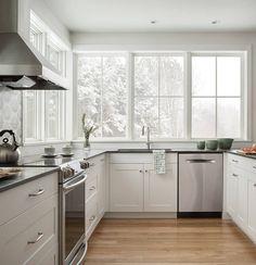 A Modern Family Farmhouse | Marvin Home Decor Kitchen, Kitchen Dining, Kitchen Ideas, Kitchen Designs, Kitchen Sink, Window Cost, Marvin Windows, New England Farmhouse, Modern Farmhouse Kitchens