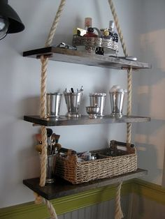 diy bathroom rope shelves