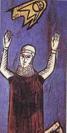 """This image of a crusader dates from a 12th century manuscript """" Annales Laurissenses"""" (volumes/books about historical and religion events)and refer to a UFO sighting in the year 776, during the siege on Sigiburg castle, France. The Saxons besieged and surrounded the French people. They both were fighting when suddenly a group of discs (flaming shields) appeared hovering over the top of the church. It appeared to the Saxons that the French were protected by these objects and the Saxons fled."""