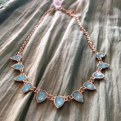 This aqua necklace would be the perfect addition to your summer jewelry box. #ShopNicoles