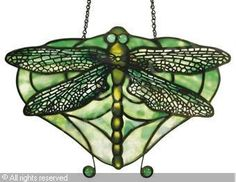 TIFFANY Louis Comfort, Tiffany Studios, 1848-1933 (USA). A 'Dragonfly' Lamp Pendant. Ca 1910. Leaded Glass and Bronze