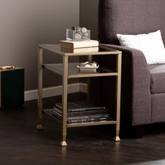 Harper Blvd Matte Gold Metal/ Glass Side/ End Table