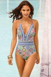 Greek tiles goddess one-piece swimsuit