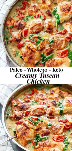 This creamy paleo tuscan chicken is a super-tasty one-skillet meal that's perfect for weeknights and full of flavor! Boneless, skinless chicken thighs are seared and cooked with a creamy sauce packed with spinach and sun-dried tomatoes. Paleo Chicken Recipes, Paleo Recipes, Whole Food Recipes, Cooking Recipes, Paleo Meals, Coconut Milk Whole 30 Recipes, Recipes With Chicken Thighs, Paleo Chicken Thighs, Cooking Tips