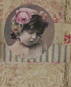Mixed Media Fabric Collage Book OF Girls AND Roses | eBay