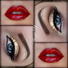 Gold eyes, red lips, glamorous!