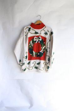Ugly Christmas Sweater December rockin pom by WindingRoadVintage
