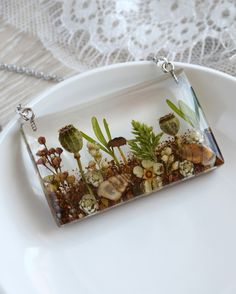 Handmade pendant with real wild flowers and grass, shells, mushrooms and poppy seed pods in resin. Diy Resin Art, Diy Resin Crafts, Resin Jewelry, Jewelry Crafts, Resin Charms, Homemade Jewelry, Seed Pods, Gras, Resin Pendant
