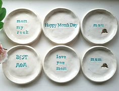 Mother's Day Gift In Stock Ceramic Trinket Dishes Gift Bridesmaid Gift, Jewelry Dish, Personalized Gift Birthday Gift Price is for One Pottery Plates, Ceramic Pottery, Mother Day Gifts, Gifts For Mom, Happy Mom Day, Salt Dough Crafts, Personalized Birthday Gifts, Pottery Techniques, Perfect Mother's Day Gift