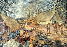 Village of Hunebedden builders during the Neolithic by J. Combine Pictures, I Love School, School Posters, Vintage School, Prehistoric Animals, Dutch Artists, Historical Pictures, Illustrators, History