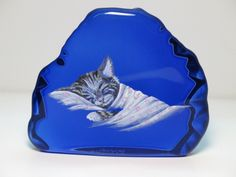 Fenton OOAK Chessie Cat on Cobalt Blue Paper Weight - 1 of 1 by Martha Reynolds. Sold on Ebay for $100.99. I own this piece.