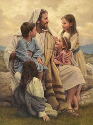 This beautiful piece of LDS artwork depicts Jesus Christ holding children. One of the classic setting where the savior is joyously playing with children. Artist: Del Parson Framing: These high-quality frames truly add value to the piece of art. Pictures Of Christ, Religious Pictures, Religious Art, Temple Pictures, Bible Pictures, Arte Lds, Jean 3 16, Image Jesus, Christian Art
