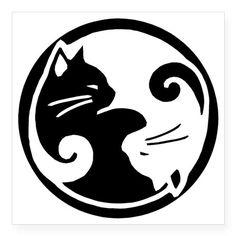 "Possible cat tattoo..yin-yang-cats Square Sticker 3"" x 3"" on CafePress.com"