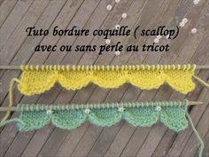 TUTO BORDURE COQUILLE SCALLOP AU TRICOT Scallop border knitting BORDE DE. c40119c97b1