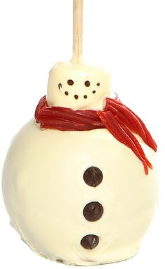 Very Cute Caramel apple!  Holiday Snowman Caramel Apple w/ White Chocolate--Amy's Gourmet Apples
