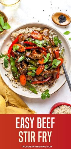 This easy Beef Stir Fry is a weeknight dinner favorite and is easy to make at home. It has tender beef, a flavorful sauce, and lots of colorful veggies. Serve with rice or noodles for a well-rounded meal! Meat Recipes, Asian Recipes, Cooking Recipes, Healthy Recipes, Healthy Meals, Delicious Recipes, Recipies, Easy Beef Stir Fry, Easy Dinner Recipes