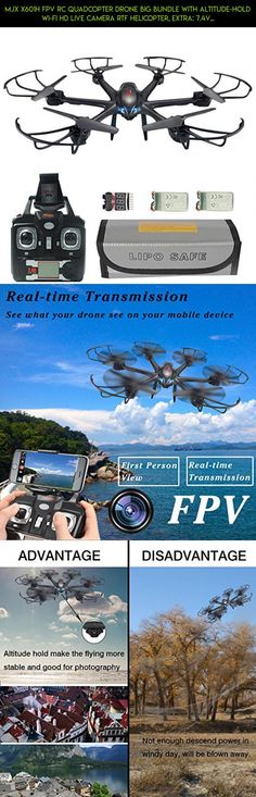 MJX X601H FPV RC Quadcopter Drone Big Bundle with Altitude-Hold Wi-Fi HD Live Camera RTF Helicopter, Extra: 7.4V 700mAh Battery, Explosionproof Battery Safe Bag, Voltage Checker Warning Buzzer Black #shopping #plans #technology #racing #mjx #kit #fpv #camera #parts #parts #tech #gadgets #drone #400 #products