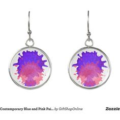 Contemporary Blue and Pink Paint Splash Earrings (105 ILS) ❤ liked on Polyvore featuring jewelry, earrings, blue jewelry, pink earrings, pink jewelry, blue earrings and earring jewelry