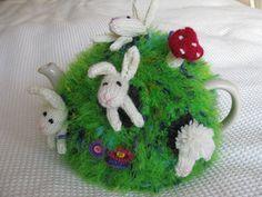 Ravelry: pesky rabbit tea cozy pattern by Debi Birkin Knitted Tea Cosies, Baby Knitting Patterns, Scarf Patterns, Knitting Tutorials, Finger Knitting, Free Knitting, My Cup Of Tea, Tea Cup, Mug Cozy