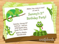 Reptile Birthday Party Invitation these look cute with th chameleon