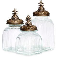 Glass Canisters (Set of 3) ❤ liked on Polyvore featuring home, bed & bath, bath, bath accessories, decoration, fleur de lis bathroom accessories, glass bathroom accessories and glass bath accessories