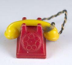 Vintage Renwal Dollhouse Miniature Rotary Dial Telephone Plastic Phone No. 28 #Renwal