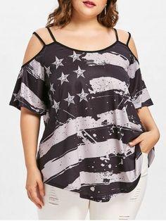 268292fa3e725 Shirts women 2018 plus size fashion women summer cold shoulder blouses  american flag printed strapless tunic shirt roupas