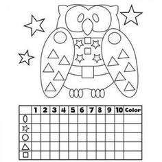 Graphing WorksheetsGraphing - A cute owl - count and color shapes!Graphing Worksheets for Kindergarten. Graphing Worksheets, Graphing Activities, Kindergarten Worksheets, Numeracy, Kindergarten Crafts, Math Classroom, Preschool Activities, Maternelle Grande Section, Teaching Shapes