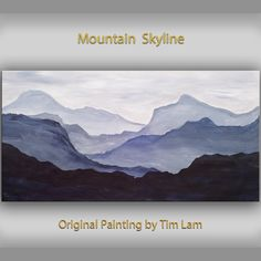 Original abstract mountain art Black and White Large Oil painting on gallery wrap canvas Ready to hang by tim Lam 48x24 on Etsy, $349.00