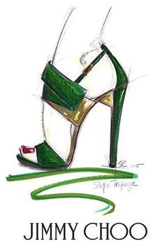Sketch by Jimmy Choo's  Creative Director Sandra Choi | TRAPEZE sandal | 2015