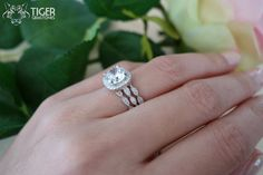 3 Band 2.25 Carat Halo Wedding Set Vintage by TigerGemstones