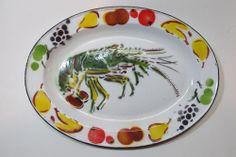 Vintage Crayfish Crawdaddy Crawdad Crawfish Painted Enamelware Serving Tray