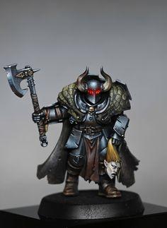 Chaos warrior by Richard Gray Warhammer 40k Blood Angels, Warhammer Figures, Warhammer Aos, Warhammer Models, Warhammer 40k Miniatures, Warhammer Fantasy, Medieval Armor, Medieval Fantasy, Fantasy Battle