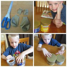 Bongo Drums - also links to DIY rainstick, pan flute, and palm pipes. Must make all of them (maybe use some of the metal pipes from the fence instead of PVC for the palm pipes? Drums For Kids, Drum Lessons For Kids, Music For Kids, Fun Music, Music Instruments Diy, Homemade Instruments, Projects For Kids, Diy For Kids, Kids Crafts
