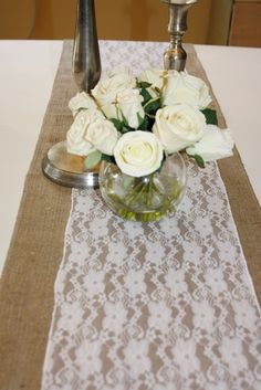 love burlap and lace together