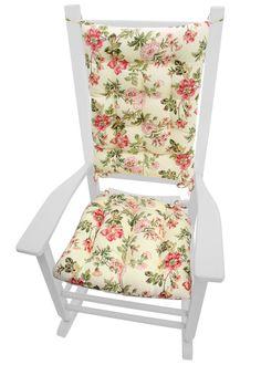 Farrell Multi Virginia Rose Floral Rocking Chair Cushions   Latex Foam Fill    Made In USA
