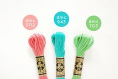 DMC Color Combo: Spring by wildolive Diy Bracelets Patterns, Diy Bracelets Easy, Thread Bracelets, Bracelet Crafts, Dmc Embroidery Floss, Hand Embroidery Patterns, Cross Stitch Embroidery, Cross Stitch Floss, Arm Candies