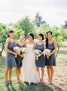 Still undecided on whether the bridesmaids should wear grey or yellow dresses. Maybe both?