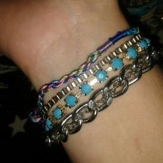 Bohemian chunky bracelet from American eagle Colorful, chunky, and shiny with clasp closure. Adjustable. Jewelry Bracelets